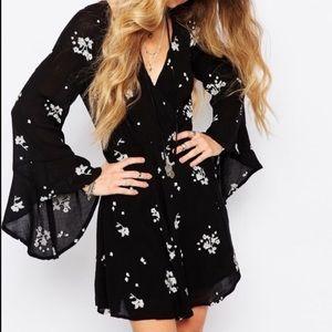 FP Black Embroidered Long Sleeve Mini Dress